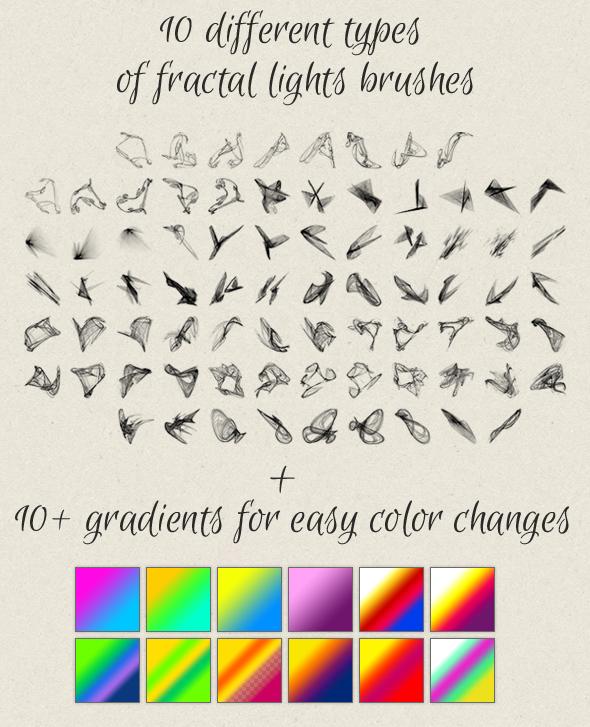 fractal lights bruhes for photoshop